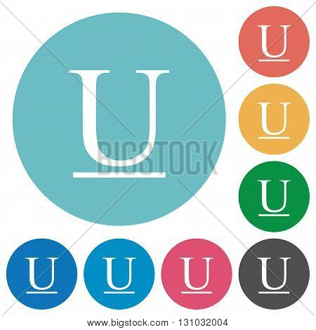 Flat underlined font icon set on round color background.