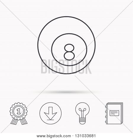 Billiard ball icon. Pool or snooker equipment sign. Cue sports symbol. Download arrow, lamp, learn book and award medal icons.
