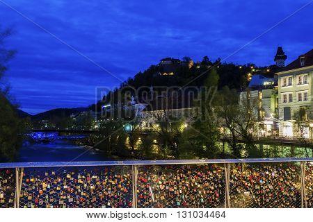 Castle Hill and Mur River. Graz Styria Austria.