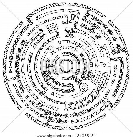 Mandala theme. Floral wreath pattern labyrinth with dots lines and flowers. Black and white circle flower labyrinth. Hand drawn ink pattern made by trace from sketch. Perfect for coloring book page.