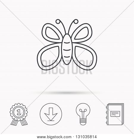 Butterfly icon. Flying lepidoptera sign. Dreaming symbol. Download arrow, lamp, learn book and award medal icons.