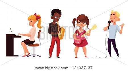 Other children play musical instruments and sing, comic cartoon vector illustration isolated on white, children play musical instruments guitar piano saxophone sing into microphone, children musicians