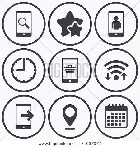 Clock, wifi and stars icons. Phone icons. Smartphone video call sign. Search, online shopping symbols. Outcoming call. Calendar symbol.