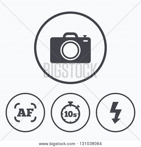 Photo camera icon. Flash light and autofocus AF symbols. Stopwatch timer 10 seconds sign. Icons in circles.