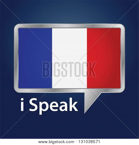 Vector stock of France flag inside speech bubble Speaking French language