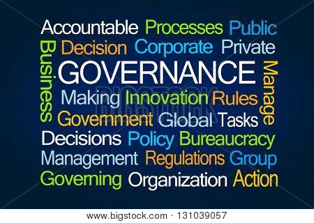 Governance Word Cloud on Blue Background