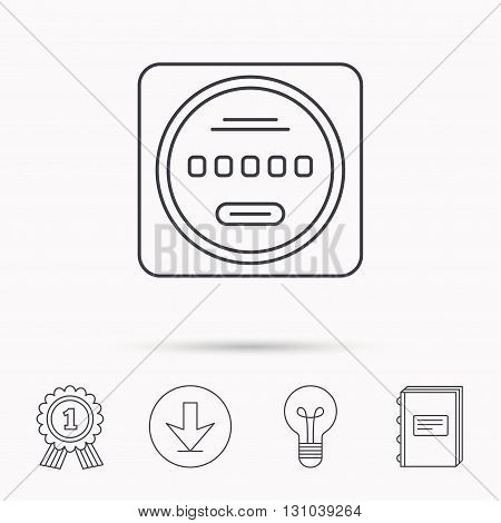 Electricity power counter icon. Measurement sign. Download arrow, lamp, learn book and award medal icons.