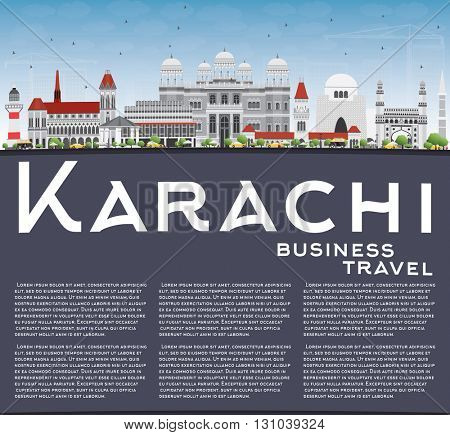 Karachi Skyline with Gray Landmarks, Blue Sky and Copy Space. Vector Illustration. Business Travel and Tourism Concept with Historic Buildings. Image for Presentation Banner Placard and Web Site.