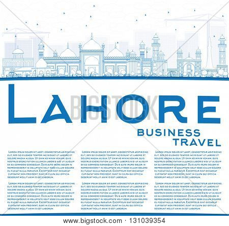 Outline Lahore Skyline with Blue Landmarks and Copy Space. Vector Illustration. Business Travel and Tourism Concept with Historic Buildings. Image for Presentation Banner Placard and Web.