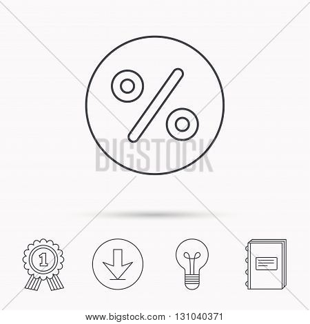 Discount percent icon. Sale sign. Special offer symbol. Download arrow, lamp, learn book and award medal icons.