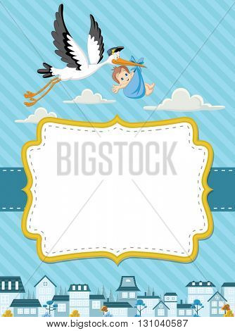 Card with a cartoon stork delivering a newborn baby boy