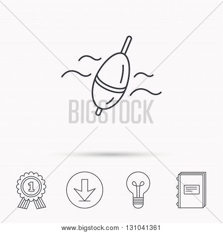 Fishing float icon. Bobber in waves sign. Angling symbol. Download arrow, lamp, learn book and award medal icons.