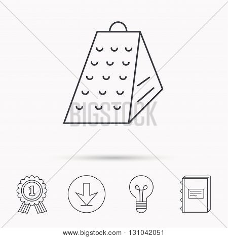 Grater icon. Kitchen tool sign. Kitchenware slicer symbol. Download arrow, lamp, learn book and award medal icons.