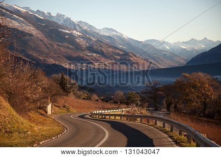 Views of Sierre and the Alps from Crans-Montana Switzerland