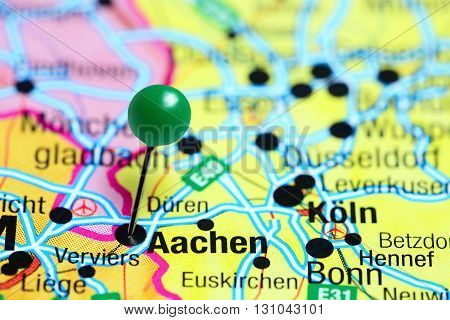 Aachen pinned on a map of Germany