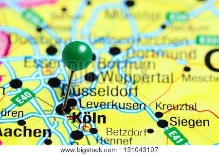 Koln pinned on a map of Germany