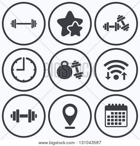 Clock, wifi and stars icons. Dumbbells sign icons. Fitness sport symbols. Gym workout equipment. Calendar symbol.