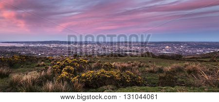 Panorama of Belfast at sunset. Belfast Northern Ireland United Kingdom.