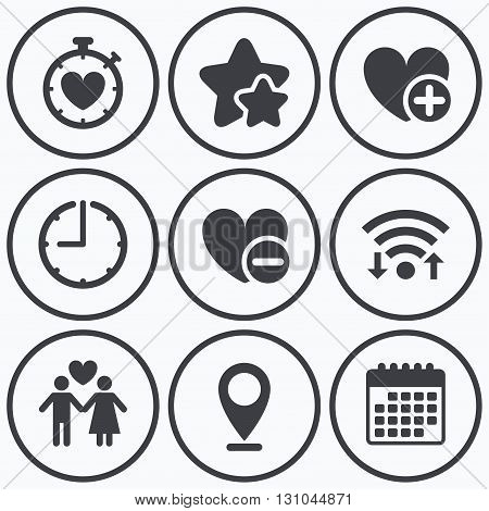 Clock, wifi and stars icons. Valentine day love icons. Love heart timer symbol. Couple lovers sign. Add new love relationship. Calendar symbol.