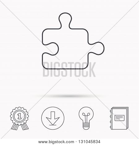 Puzzle icon. Jigsaw logical game sign. Boardgame piece symbol. Download arrow, lamp, learn book and award medal icons.