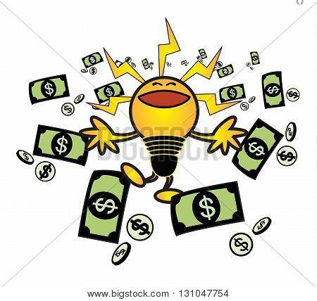 happy bulb idea make money vector concept