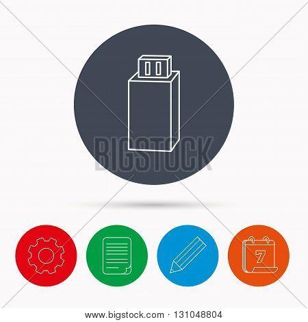 USB drive icon. Flash stick sign. Mobile data storage symbol. Calendar, cogwheel, document file and pencil icons.