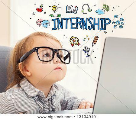 Internship Concept With Toddler Girl