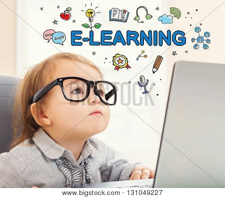 E-learning Concept With Toddler Girl