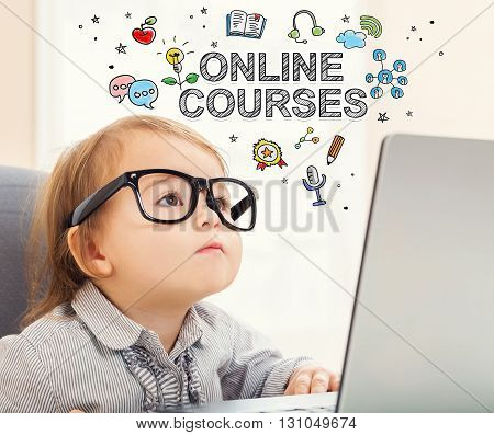 Online Courses Concept With Toddler Girl
