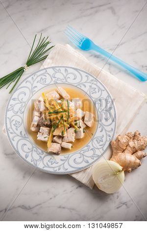 swordfish with fresh ginger and chive