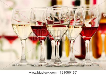 Glasses with different kind of wine