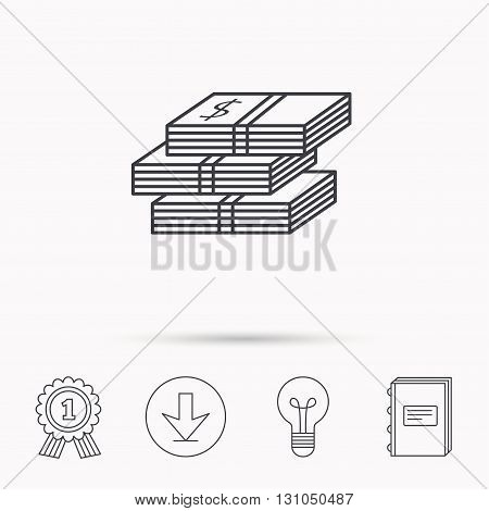 Cash icon. Dollar money sign. USD currency symbol. 3 wads of money. Download arrow, lamp, learn book and award medal icons.