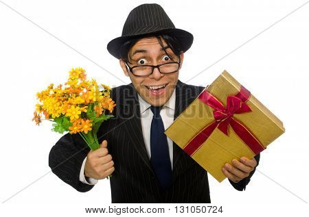 Funny man with flowers and giftbox