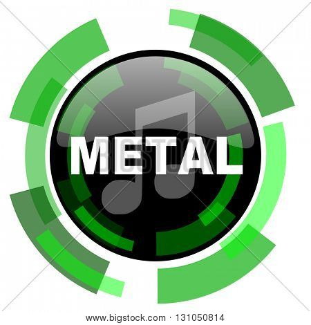 metal music icon, green modern design glossy round button, web and mobile app design illustration