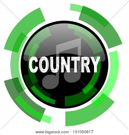 music country icon, green modern design glossy round button, web and mobile app design illustration