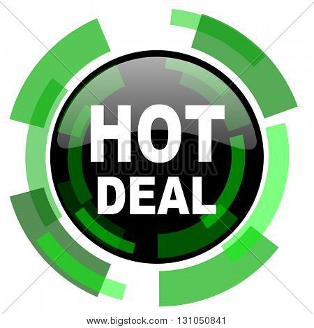 hot deal icon, green modern design glossy round button, web and mobile app design illustration