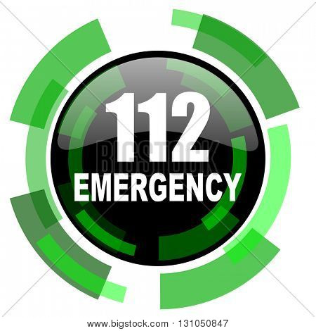 number emergency 112 icon, green modern design glossy round button, web and mobile app design illustration