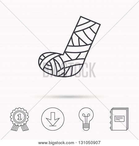 Gypsum or cast foot icon. Broken leg sign. Human recovery medicine symbol. Download arrow, lamp, learn book and award medal icons.