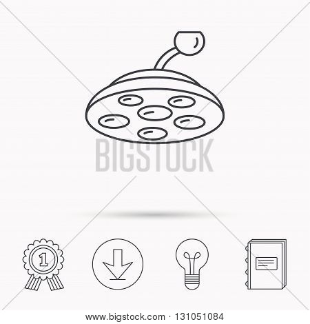 Surgical lamp icon. Surgeon light sign. Download arrow, lamp, learn book and award medal icons.