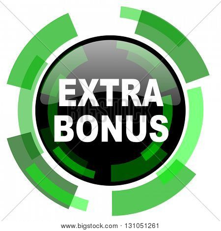 extra bonus icon, green modern design glossy round button, web and mobile app design illustration