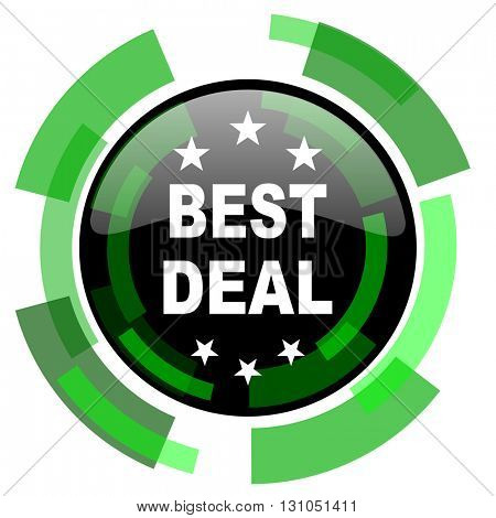 best deal icon, green modern design glossy round button, web and mobile app design illustration