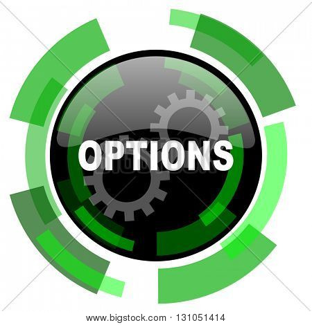 options icon, green modern design glossy round button, web and mobile app design illustration