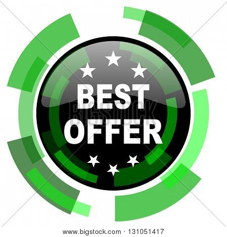 best offer icon, green modern design glossy round button, web and mobile app design illustration