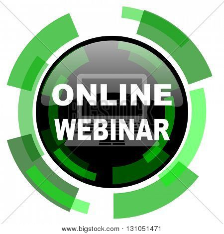 online webinar icon, green modern design glossy round button, web and mobile app design illustration