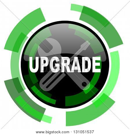 upgrade icon, green modern design glossy round button, web and mobile app design illustration