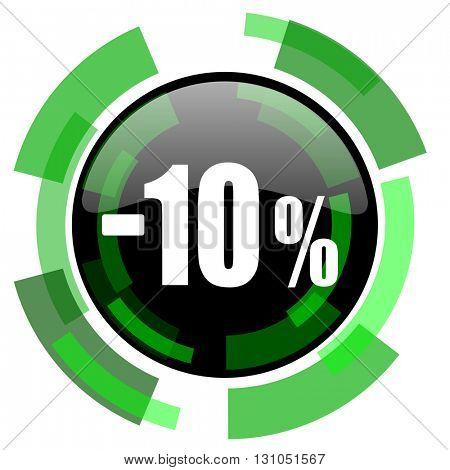 10 percent sale retail icon, green modern design glossy round button, web and mobile app design illustration