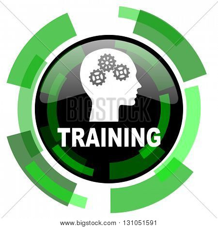 training icon, green modern design glossy round button, web and mobile app design illustration