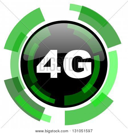 4g icon, green modern design glossy round button, web and mobile app design illustration