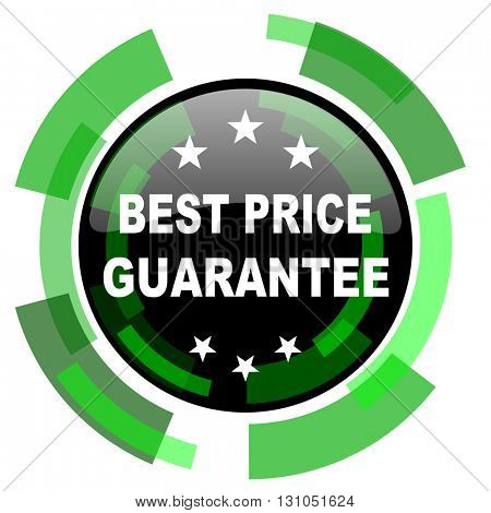 best price guarantee icon, green modern design glossy round button, web and mobile app design illustration
