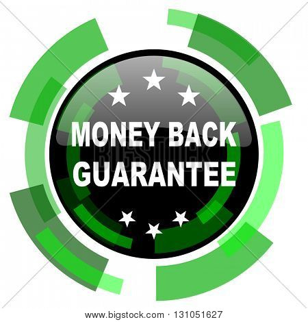 money back guarantee icon, green modern design glossy round button, web and mobile app design illustration